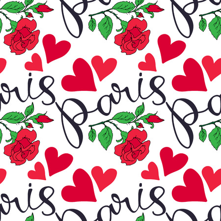 Paris hand drawn lettering with red roses. Seamless pattern. Design element for fabric, wallpaper or wrapping paper. Romantic illustration. Ilustrace