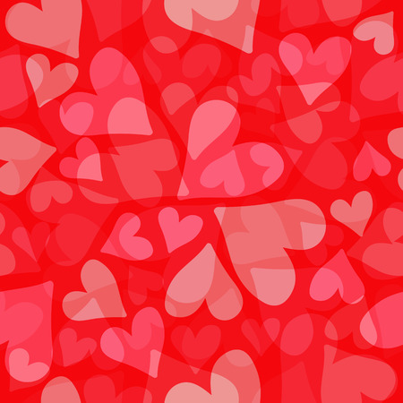 Red hearts. Seamless pattern. Design element for fabric, wallpaper or wrapping paper. Romantic illustration.