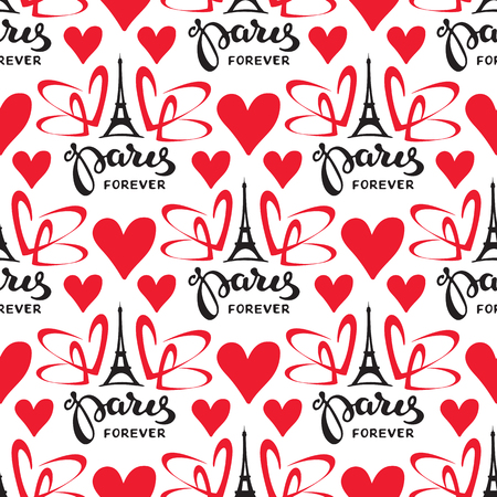 Paris hand drawn lettering with Eiffel Tower silhouette. Seamless pattern. Design element for fabric, wallpaper or wrapping paper. Romantic illustration.