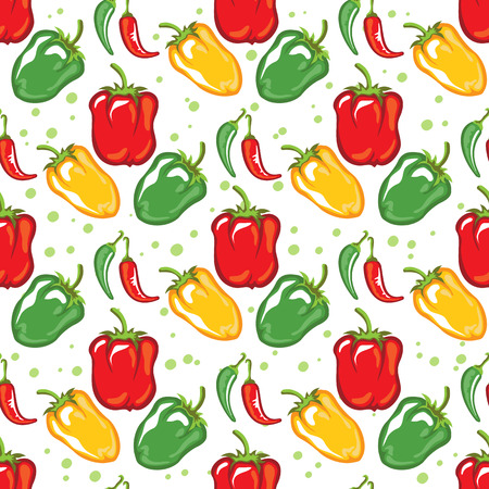 Paprika pods vector illustration. Seamless pattern. Design element for fabric, wallpaper, gift wrap, culinary products, seasoning and spice package, cooking book. Stok Fotoğraf - 124904914