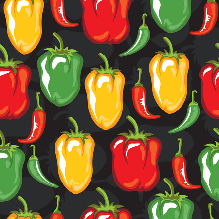 Paprika pods vector illustration. Seamless pattern. Design element for fabric, wallpaper, gift wrap, culinary products, seasoning and spice package, cooking book. 일러스트