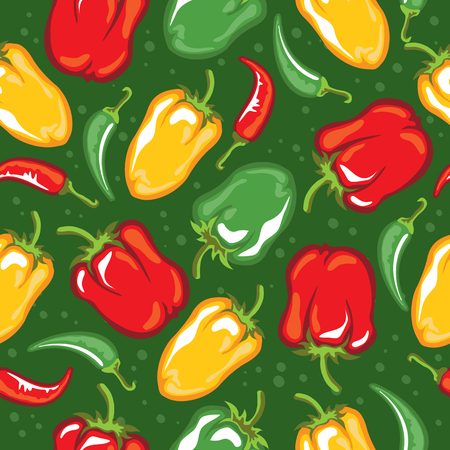 Paprika pod vector illustration. Seamless pattern. Design element for fabric, wallpaper, gift wrap, culinary products, seasoning and spice package, cooking book. Çizim
