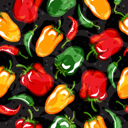 Paprika pods vector illustration. Seamless pattern. Design element for fabric, wallpaper, gift wrap, culinary products, seasoning and spice package, cooking book.
