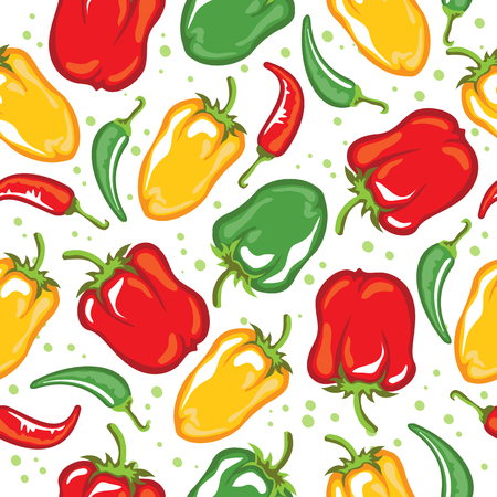 Paprika pods vector illustration. Seamless pattern. Design element for fabric, wallpaper, gift wrap, culinary products, seasoning and spice package, cooking book. Çizim