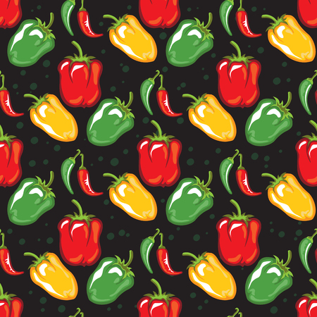 Paprika pods vector illustration. Seamless pattern. Design element for fabric, wallpaper, gift wrap, culinary products, seasoning and spice package, cooking book. Stok Fotoğraf - 124904918