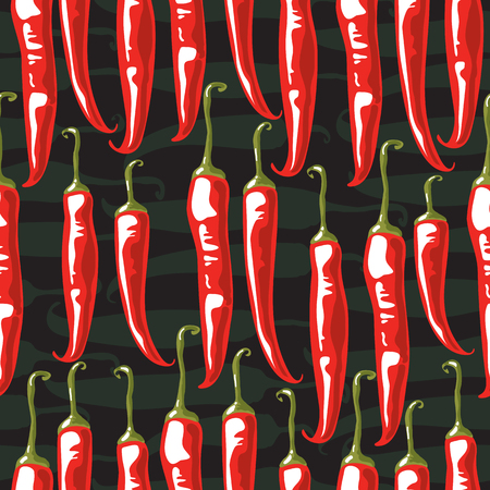 Chili pepper pod vector illustration. Seamless pattern. Design element for fabric, wallpaper, gift wrap, culinary products, seasoning and spice package, cooking book. Stok Fotoğraf - 124904920
