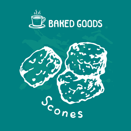 Hand drawn scones isolated on blue background. Baked goods. Doodle style. Design element for cafe menu, leaflets, stickers or magnets. Vector illustration.