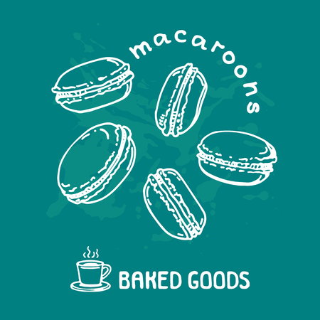 Hand drawn macaroons isolated on blue background. Baked goods. Doodle style. Design element for cafe menu, leaflets, stickers or magnets. Vector illustration.