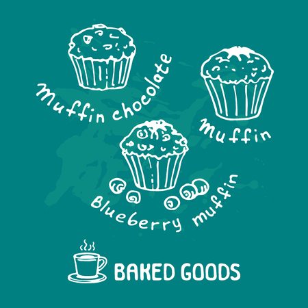 Hand drawn muffins set isolated on blue background. Baked goods. Doodle style. Design element for cafe menu, leaflets, stickers or magnets. Vector illustration.