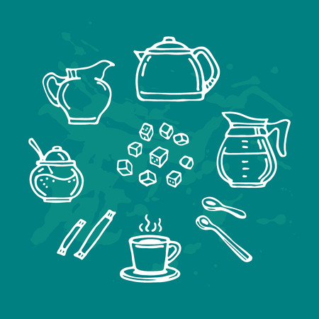 Hand drawn tea set with milk jug and sugar isolated on blue background. Doodle style. Design element for cafe menu, leaflets, posters or cooking book. Vector illustration. Çizim