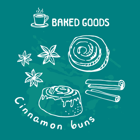 Hand drawn cinnamon buns isolated on blue background. Baked goods. Doodle style. Design element for cafe menu, leaflets, stickers or magnets. Vector illustration. Illustration