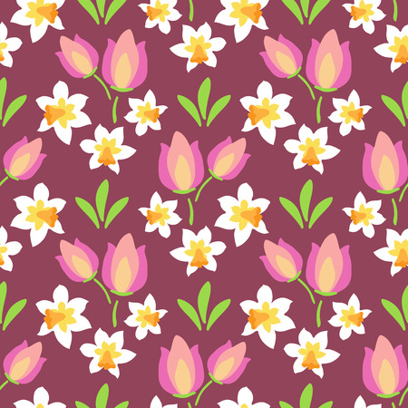 Spring flowers. Seamless pattern. Design element for fabric, gift wrap or wallpaper. Ilustracja