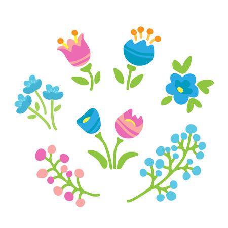 Spring flowers set. Flat design. Vector illustration. Design element for greeting card, post card, invitations or home design. Illustration