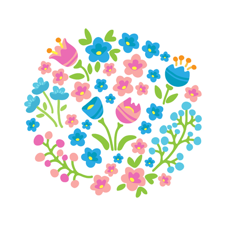 Spring flowers template. Flat design. Vector romantic illustration. Design element for greeting card, post card, invitations or leaflets.