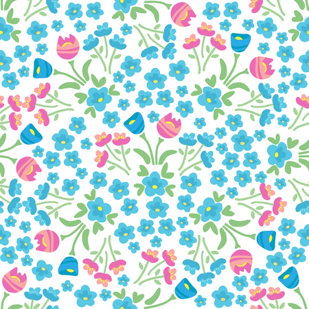 Spring flowers. Seamless pattern. Design element for fabric, gift wrap or wallpaper. Illustration