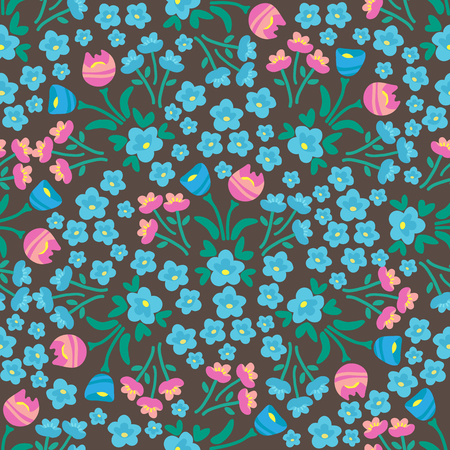 Moody spring flowers. Seamless pattern. Design element for fabric, gift wrap or wallpaper.