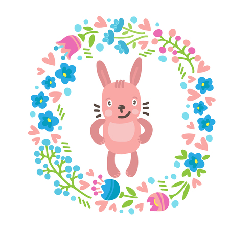 Funny cute Easter rabbit with floral border isolated on white background. Holiday vector Illustration. Design elements for stickers, magnets, greeting cards or craft books.