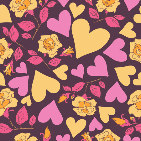 Abstract seamless pattern with hearts and roses. Valentines Day illustration. Design for gift wrap, wrapping paper, greeting cards, textile prints and romantic decorations. Vettoriali