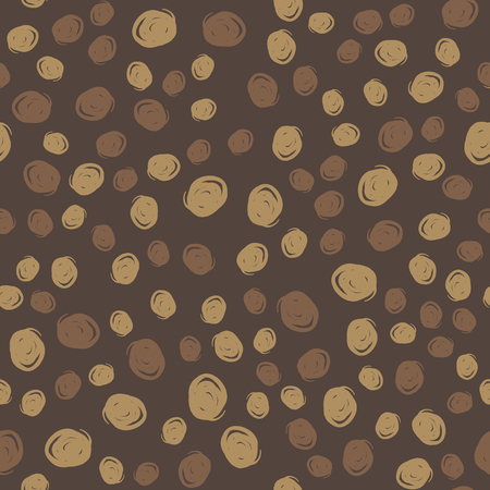 Abstract grunge bubbles on dark background. Coffee color palette. Seamless pattern for textile print, gift wrap or wallpaper. Vettoriali