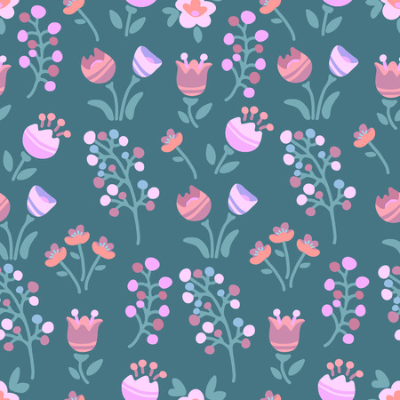 Spring flowers. Seamless pattern. Design element for fabric, gift wrap or wallpaper. 矢量图像