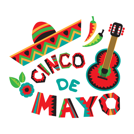 Mexican national characters: guitar, sombrero, flower and red chiki pepper. Cinco De Mayo symbols. Design elements for holiday poster, flyer or leaflets. Фото со стока - 122805544