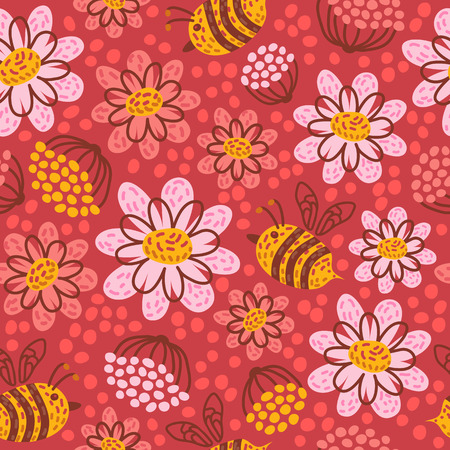 Seamless pattern with flowers and honeybee. Vector illustration. Design element for fabric, wallpaper or wrapping paper.