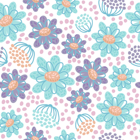 Seamless pattern with flowers. Vector illustration. Design element for fabric, wallpaper or wrapping paper.