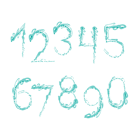 Set of grunge ten numbers isolated on white background. Vector illustration. Design element for posters or booklets. Hand drawn style.
