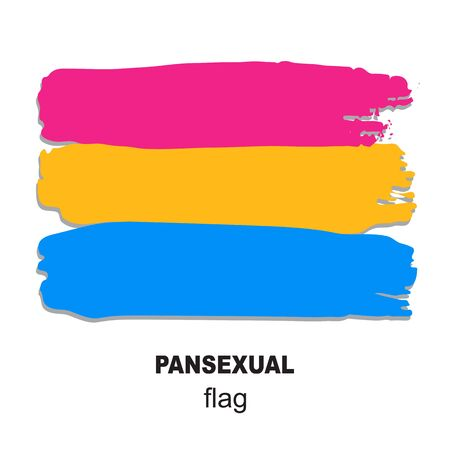 Pansexual pride flag isolated on white background. Gay pride symbol. Design element for banner, poster or leaflet. Grunge style.