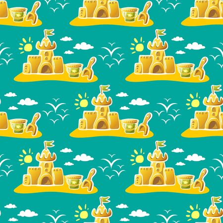 Seamless pattern with sand castle and sun. Summer vector illustration. Design element for fabric, wallpaper or wrapping paper.