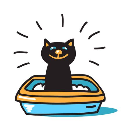 Cat in the tray. Doodle set. Vector illustration. Hand drawn style. Design elements for leaflet, booklet, cards, poster or banner.