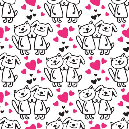 Happy cat and dog on white background. Doodle style. Vector illustration. Hand drawn style. Seamless pattern for  wallpaper, wrapping paper, fabric or banner. Illustration