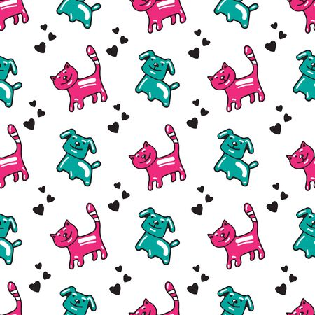 Cute cats and dogs on white background. Doodle style. Vector illustration. Hand drawn style. Seamless pattern for wallpaper,  wrapping paper, banner or fabric.