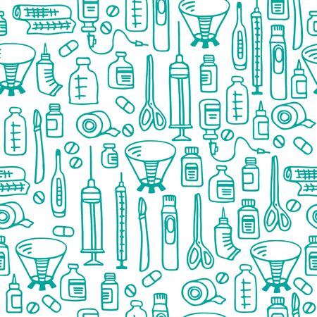 Vet clinic doodles. Vector illustration. Hand drawn style. Seamless pattern for fabric, wrapping paper, wallpaper or banner.