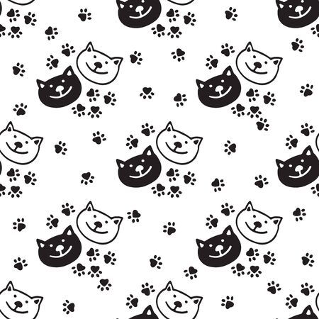 Seamless pattern with happy cat face. Design element for wallpaper, wrapping paper, banner or fabric.  イラスト・ベクター素材