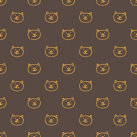 Seamless pattern with happy cat face. Design element for wallpaper, wrapping paper, banner or fabric. Иллюстрация