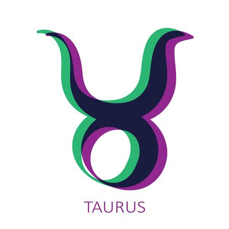 Zodiac sign Taurus isolated on white background. Glitch stereo effect. Zodiac constellation. Vector illustration for horoscope and astrological forecast.
