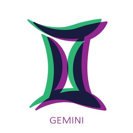 Zodiac sign Gemini isolated on white background. Glitch stereo effect. Zodiac constellation. Vector illustration for horoscope and astrological forecast.