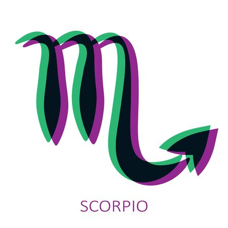 Zodiac sign Scorpio isolated on white background. Glitch stereo effect. Zodiac constellation. Vector illustration for horoscope and astrological forecast.