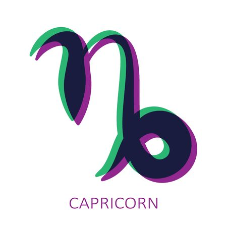 Zodiac sign Capricorn isolated on white background. Glitch stereo effect. Zodiac constellation. Vector illustration for horoscope and astrological forecast. Иллюстрация