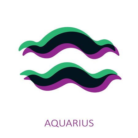 Zodiac sign Aquarius isolated on white background. Glitch stereo effect. Zodiac constellation. Vector illustration for horoscope and astrological forecast.