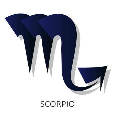 Zodiac sign Scorpio isolated on white background. Zodiac constellation. Design element for horoscope and astrological forecast. Flat design style. Vector illustration.