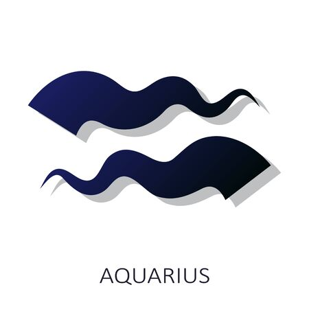 Zodiac sign Aquarius isolated on white background. Zodiac constellation. Design element for horoscope and astrological forecast. Flat design style. Vector illustration.