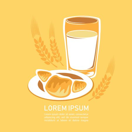 Croissant with milk glass and wheat ear.  Design element for cafe menu, leaflets, stickers or magnets. Vector illustration.