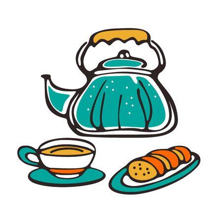 Tea pot, cup and baked goods.  Design element for cafe menu, leaflets, stickers or magnets. Vector illustration.