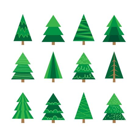 Collection of Christmas trees isolated on white background. Flat design. Holiday New Year or Christmas vector illustration. Design elements for leaflet, greeting card, poster, banner, booklet.