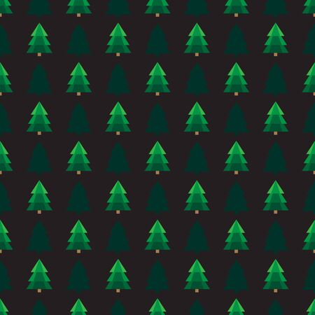 Christmas trees  on black background. Seamless pattern. Flat design. Holiday New Year or Christmas vector illustration. Design element for banner, wallpaper, wrapping paper or fabric. Иллюстрация