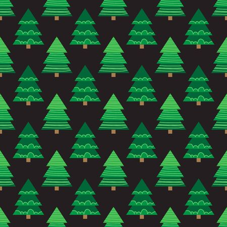 Christmas trees  on dark background. Seamless pattern. Flat design. Holiday New Year or Christmas vector illustration. Design element for banner, wallpaper, wrapping paper or fabric.