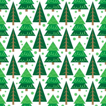 Christmas trees  on white background. Seamless pattern. Flat design. Holiday New Year or Christmas vector illustration. Design element for banner, wallpaper, wrapping paper or fabric. Иллюстрация