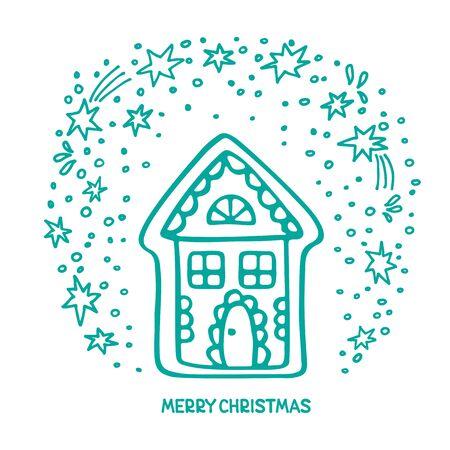 Gingerbread house isolated on white background. Christmas vector illustration. Design element for sticker, magnet, leaflet, poster, flyer.